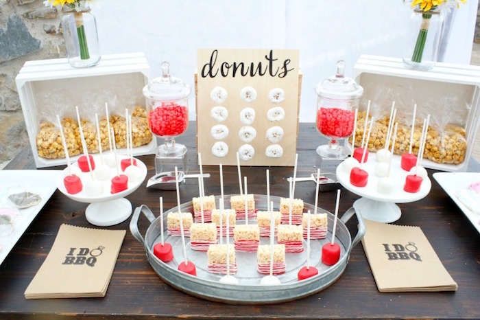 "Dessert bar from an ""I do"" BBQ Engagement Party on Kara's Party Ideas 