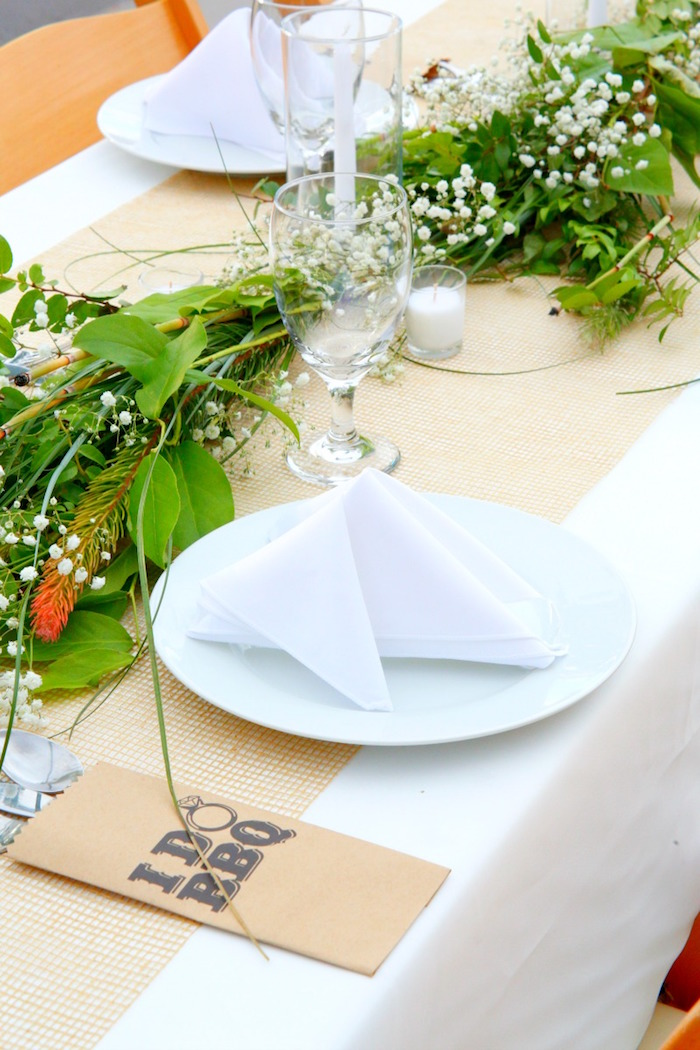 """Napkins + place setting from an """"I do"""" BBQ Engagement Party on Kara's Party Ideas 