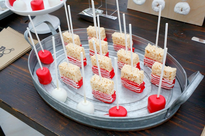 """Rice Krispie Treats, marshmallow and cake pops from an """"I do"""" BBQ Engagement Party on Kara's Party Ideas 