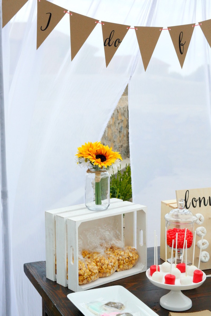 """Sweet table detail from an """"I do"""" BBQ Engagement Party on Kara's Party Ideas 