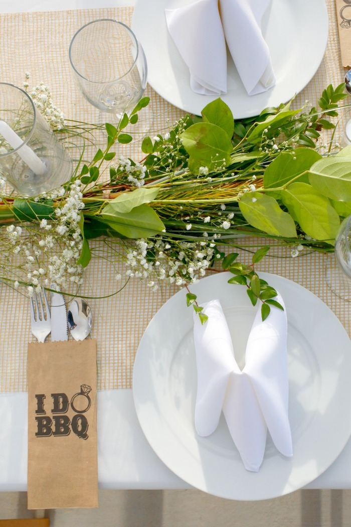 """Table setting from an """"I do"""" BBQ Engagement Party on Kara's Party Ideas 