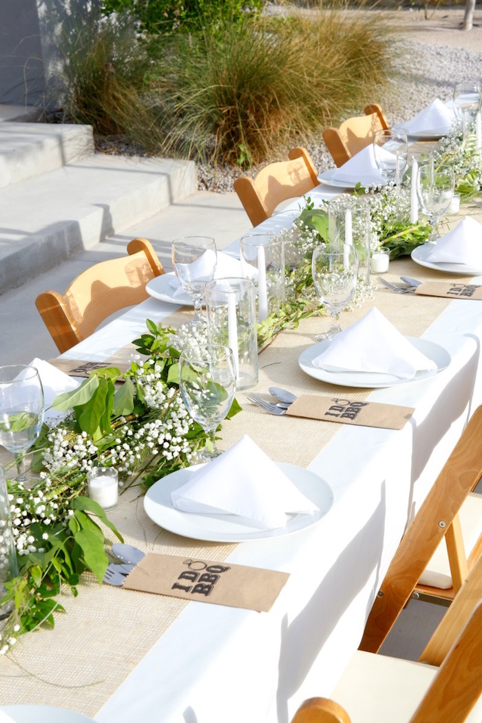 "Guest tablescape from an ""I do"" BBQ Engagement Party on Kara's Party Ideas 