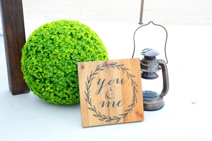 "You and me wood sign from an ""I do"" BBQ Engagement Party on Kara's Party Ideas 