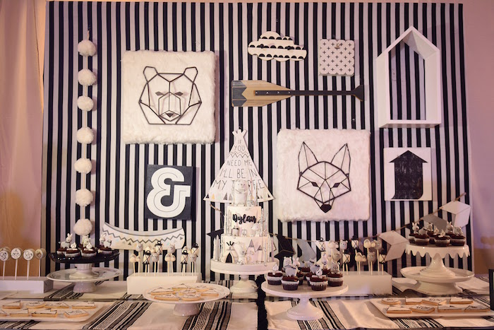 Dessert Table from a Minimalist Monochromatic Scandinavian Camping Party on Kara's Party Ideas | KarasPartyIdeas.com