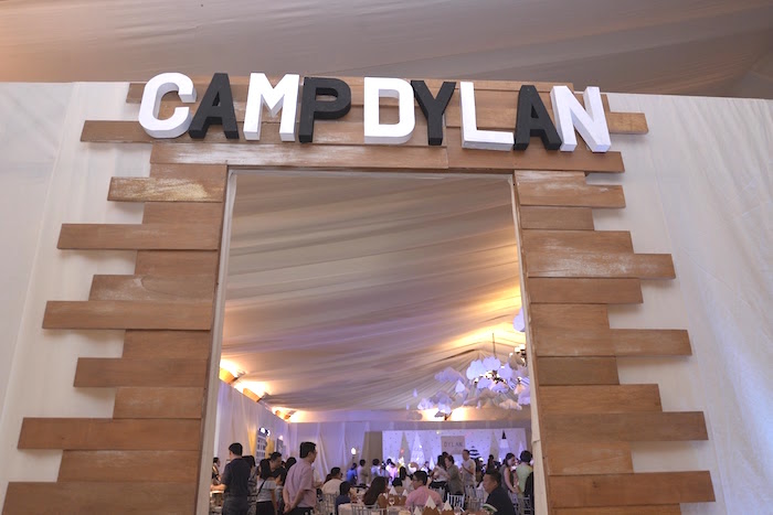 Camp Dylan Wooden Entrance from a Minimalist Monochromatic Scandinavian Camping Party on Kara's Party Ideas | KarasPartyIdeas.com