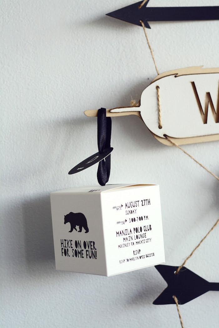 Invitation from a Minimalist Monochromatic Scandinavian Camping Party on Kara's Party Ideas | KarasPartyIdeas.com
