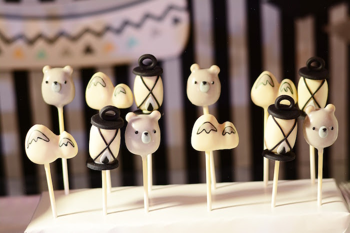 Woodland cake pops from a Minimalist Monochromatic Scandinavian Camping Party on Kara's Party Ideas | KarasPartyIdeas.com
