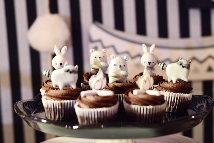 Woodland animal cupcakes from a Minimalist Monochromatic Scandinavian Camping Party on Kara's Party Ideas | KarasPartyIdeas.com