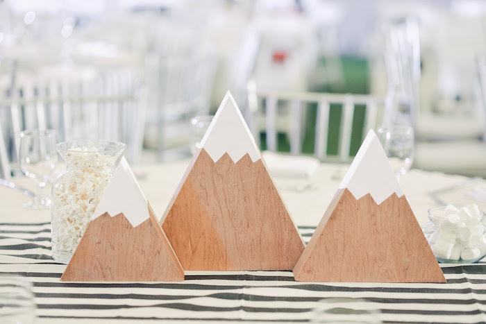 Mountain Centerpieces from a Minimalist Monochromatic Scandinavian Camping Party on Kara's Party Ideas | KarasPartyIdeas.com