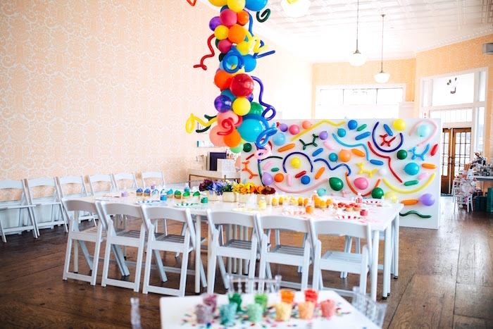 "Guest table from a ""Color me Happy"" Art Party for Kids on Kara's Party Ideas 