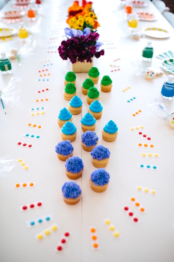 "Cupcakes from a ""Color me Happy"" Art Party for Kids on Kara's Party Ideas 