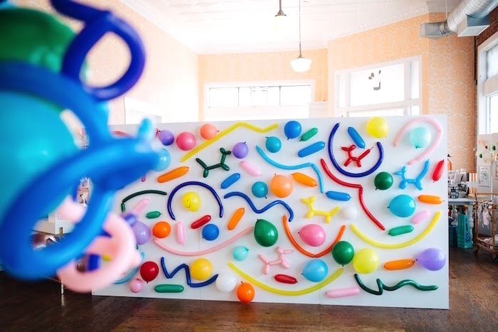 "Balloon wall from a ""Color me Happy"" Art Party for Kids on Kara's Party Ideas 