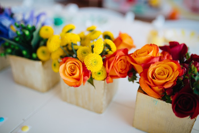 "Rainbow floral centerpieces from a ""Color me Happy"" Art Party for Kids on Kara's Party Ideas 