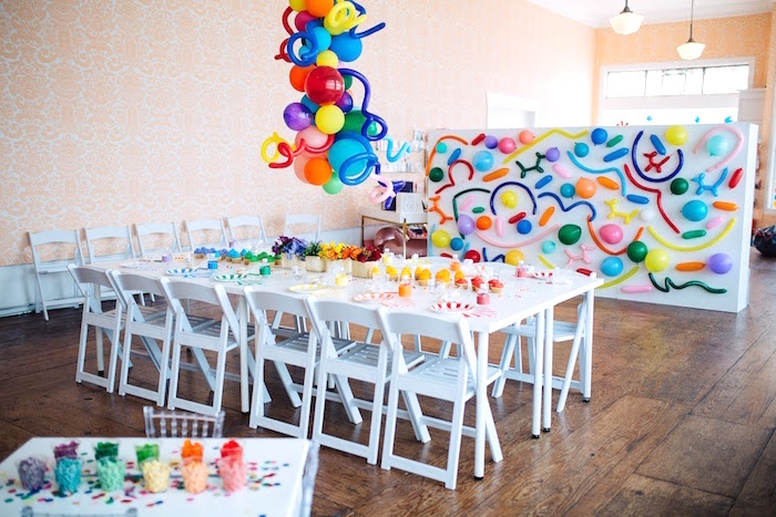 "Rainbow guest table from a ""Color me Happy"" Art Party for Kids on Kara's Party Ideas 