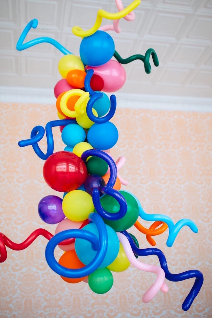 "Balloon installation from a ""Color me Happy"" Art Party for Kids on Kara's Party Ideas 
