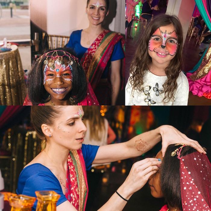 Face painting activity from an Arabian Nights Birthday Party on Kara's Party Ideas | KarasPartyIdeas.com (2)