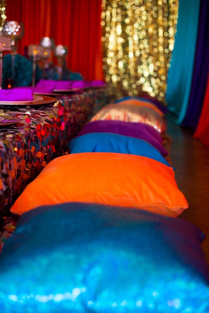 Pillow seating from an Arabian Nights Birthday Party on Kara's Party Ideas | KarasPartyIdeas.com (15)