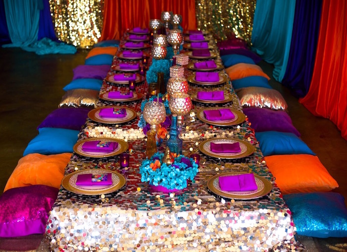 Pillow seated guest table from an Arabian Nights Birthday Party on Kara's Party Ideas | KarasPartyIdeas.com (14)