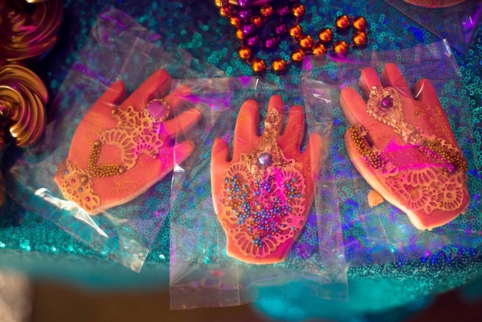 Henna tattooed hand cookies from an Arabian Nights Birthday Party on Kara's Party Ideas | KarasPartyIdeas.com (13)