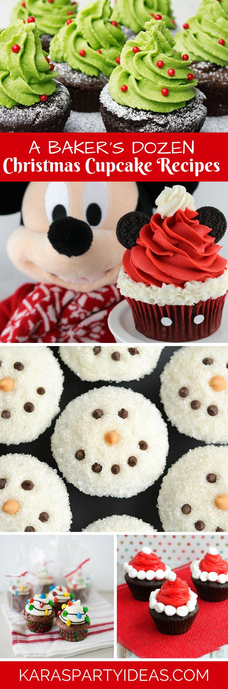 Bakers Dozen Christmas Cupcake Recipe Ideas via Kara's Party Ideas - KarasPartyIdeas.com