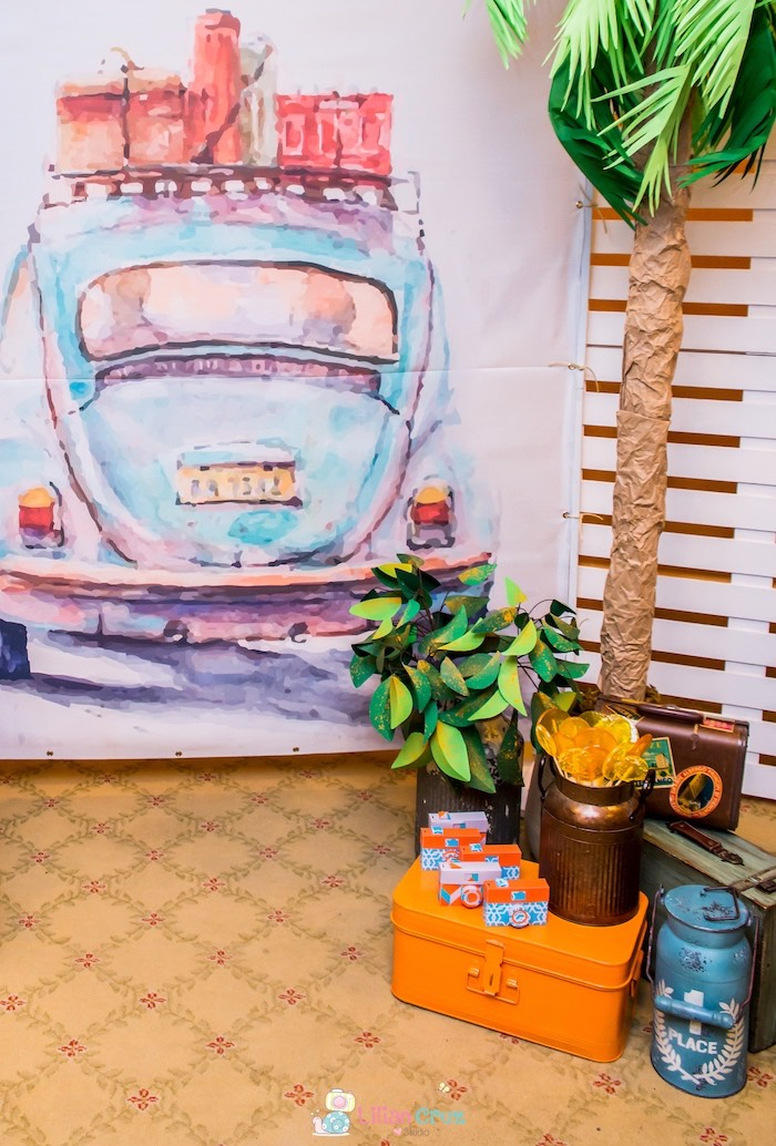 Vintage bug backdrop from a Brazilian Road Trip Inspired Party on Kara's Party Ideas | KarasPartyIdeas.com (26)