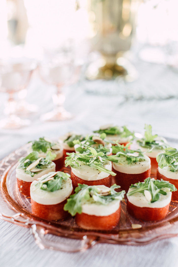 Caprese Appetizers from a Coastal Vintage Romance Bridal Shower on Kara's Party Ideas | KarasPartyIdeas.com (9)