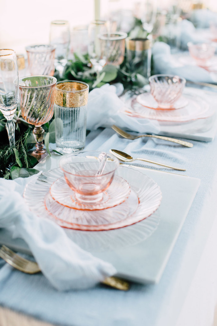 Guest table setting from a Coastal Vintage Romance Bridal Shower on Kara's Party Ideas | KarasPartyIdeas.com (7)