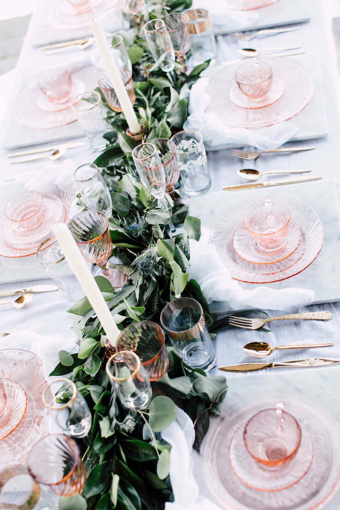 Guest tabletop + greenery garland from a Coastal Vintage Romance Bridal Shower on Kara's Party Ideas | KarasPartyIdeas.com (5)