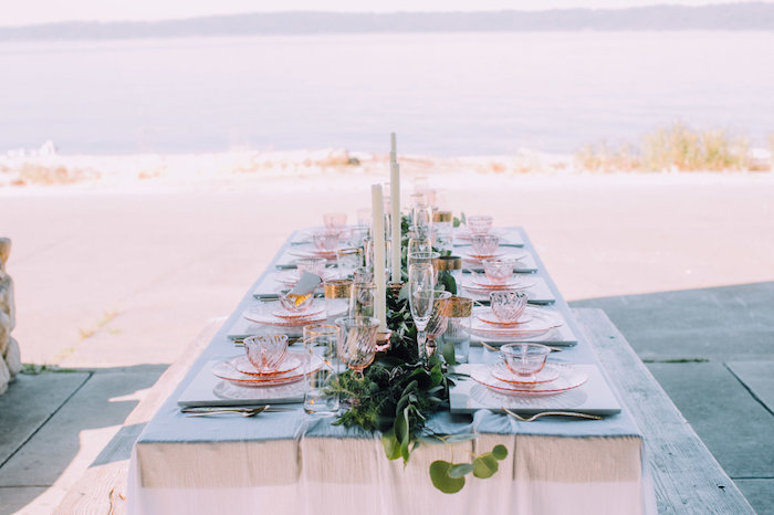 Romantic guest tablescape from a Coastal Vintage Romance Bridal Shower on Kara's Party Ideas | KarasPartyIdeas.com (17)
