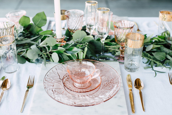 Vintage pink place setting from a Coastal Vintage Romance Bridal Shower on Kara's Party Ideas | KarasPartyIdeas.com (16)