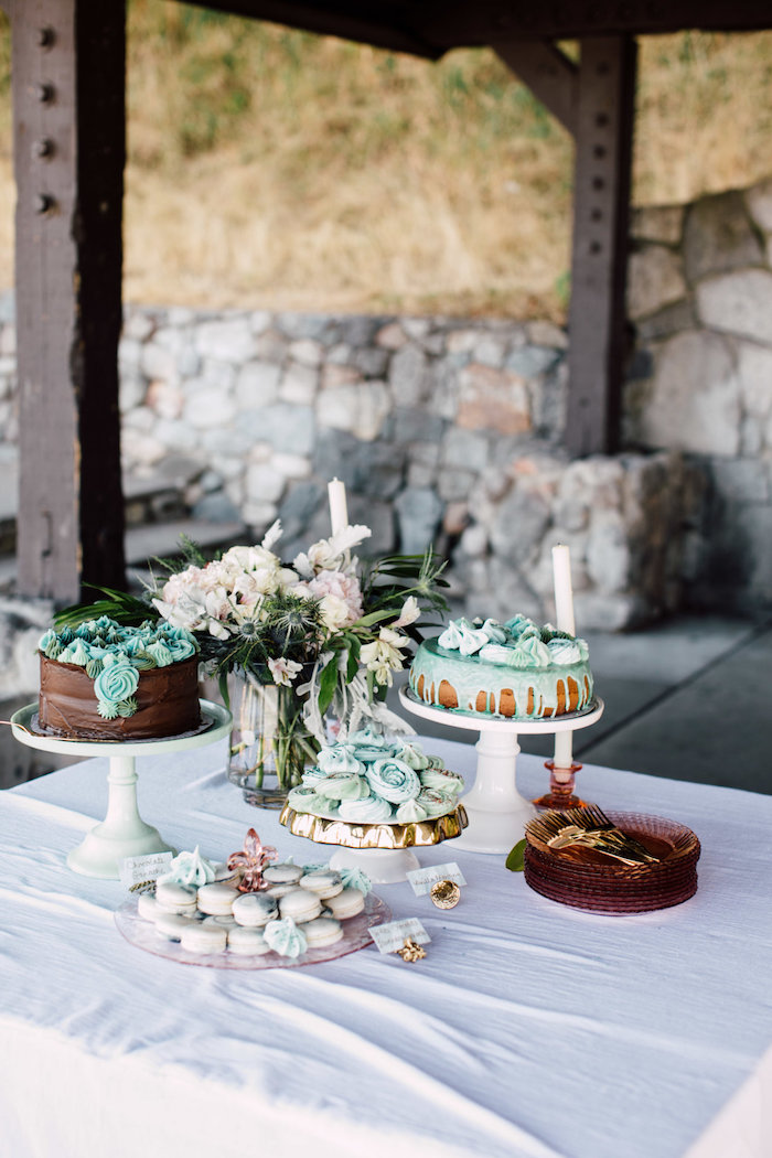 Dessert table from a Coastal Vintage Romance Bridal Shower on Kara's Party Ideas | KarasPartyIdeas.com (15)