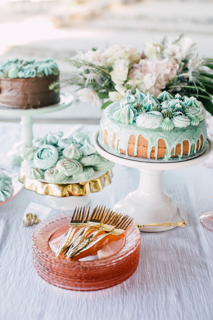 Dessert table from a Coastal Vintage Romance Bridal Shower on Kara's Party Ideas | KarasPartyIdeas.com (14)