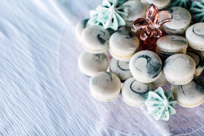 Marble Macarons from a Coastal Vintage Romance Bridal Shower on Kara's Party Ideas | KarasPartyIdeas.com (13)