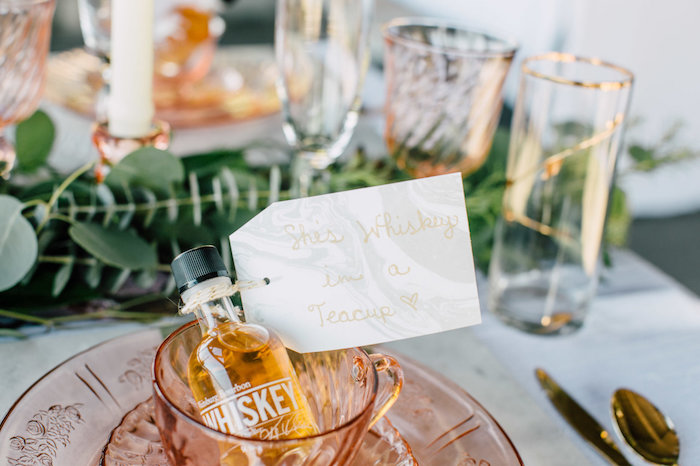 Whiskey shot favor from a Coastal Vintage Romance Bridal Shower on Kara's Party Ideas | KarasPartyIdeas.com (11)