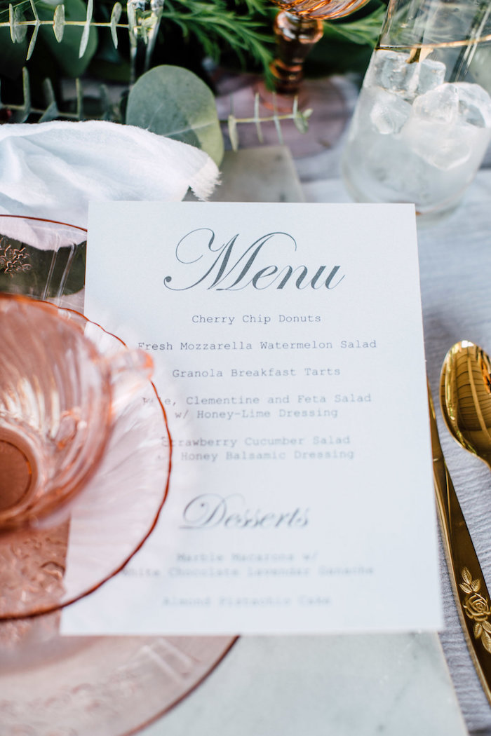 Menu card from a Coastal Vintage Romance Bridal Shower on Kara's Party Ideas | KarasPartyIdeas.com (10)