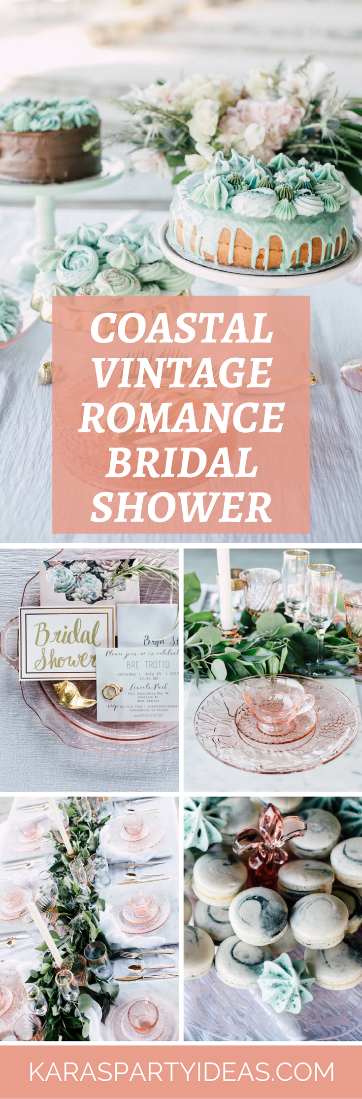 Coastal Vintage Romance Bridal Shower via Kara's Party Ideas - KarasPartyIdeas.com