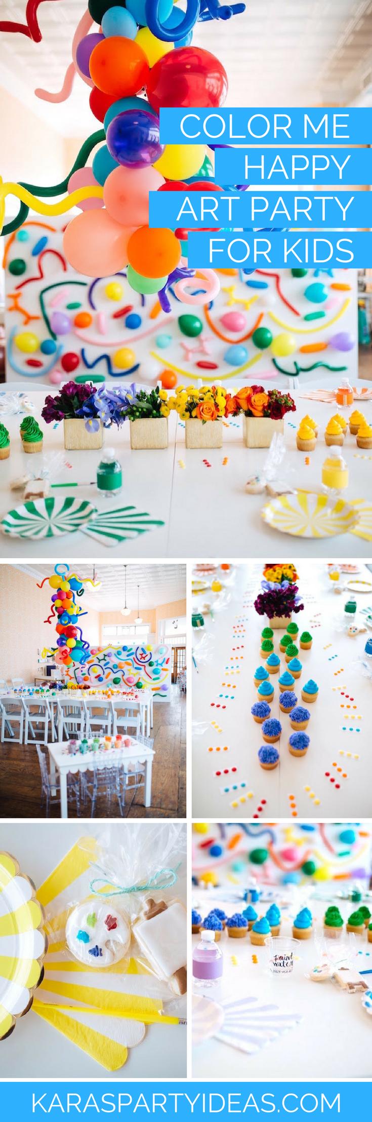 Kara S Party Ideas Quot Color Me Happy Quot Art Party For Kids