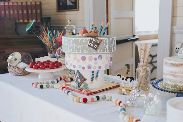 "Cakescape from a Dr. Seuss Inspired ""Wacky Wednesday"" Birthday Party on Kara's Party Ideas 