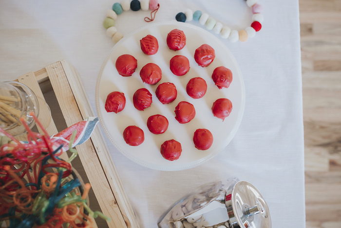 "Cake balls from a Dr. Seuss Inspired ""Wacky Wednesday"" Birthday Party on Kara's Party Ideas 
