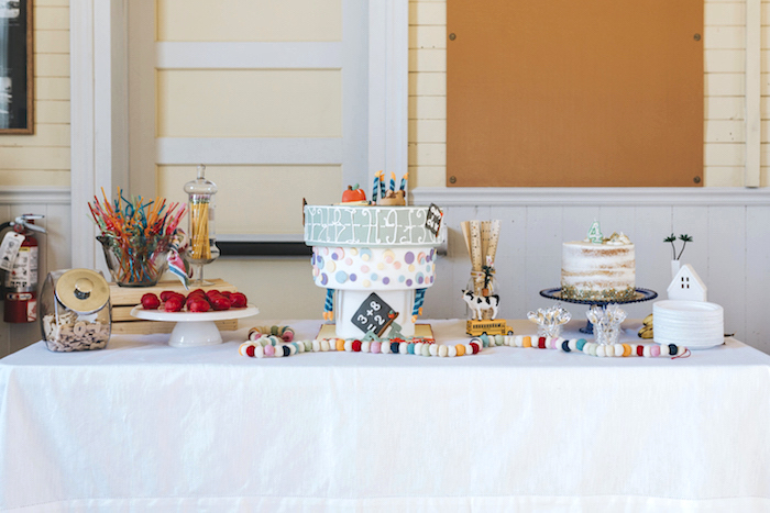 "Dessert Table from a Dr. Seuss Inspired ""Wacky Wednesday"" Birthday Party on Kara's Party Ideas 