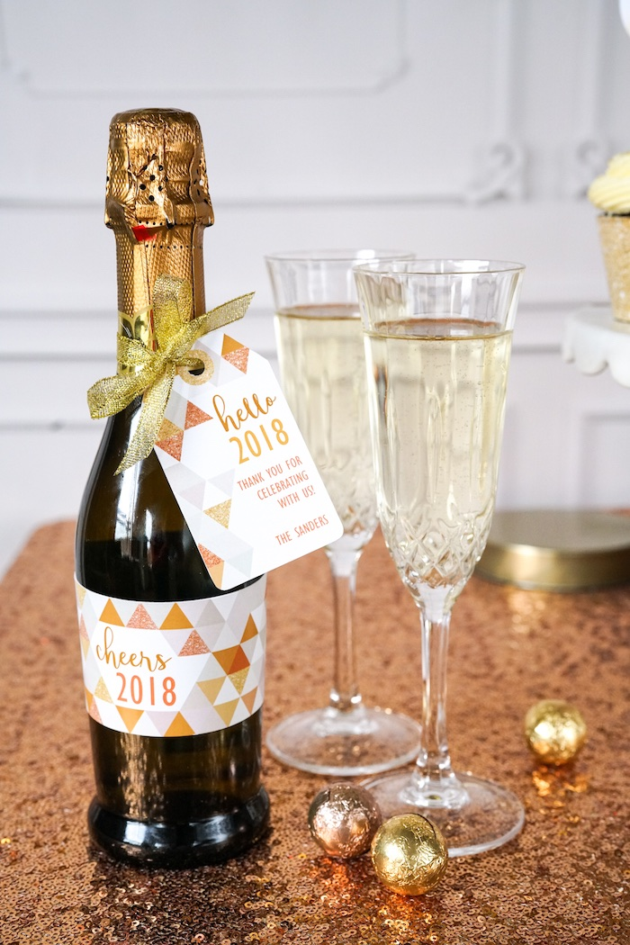 Bubbly label from an Easy DIY Sparkly New Year's Eve Party on Kara's Party Ideas | KarasPartyIdeas.com (4)