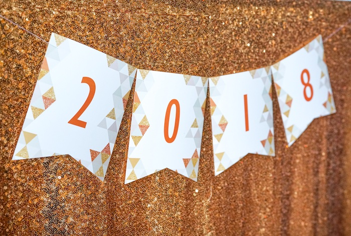 2018 banner from an Easy DIY Sparkly New Year's Eve Party on Kara's Party Ideas | KarasPartyIdeas.com (16)