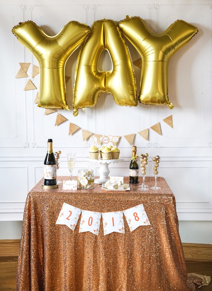YAY NYE Party Table from an Easy DIY Sparkly New Year's Eve Party on Kara's Party Ideas | KarasPartyIdeas.com (14)