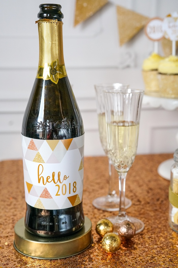 NYE bubbly from an Easy DIY Sparkly New Year's Eve Party on Kara's Party Ideas | KarasPartyIdeas.com (11)
