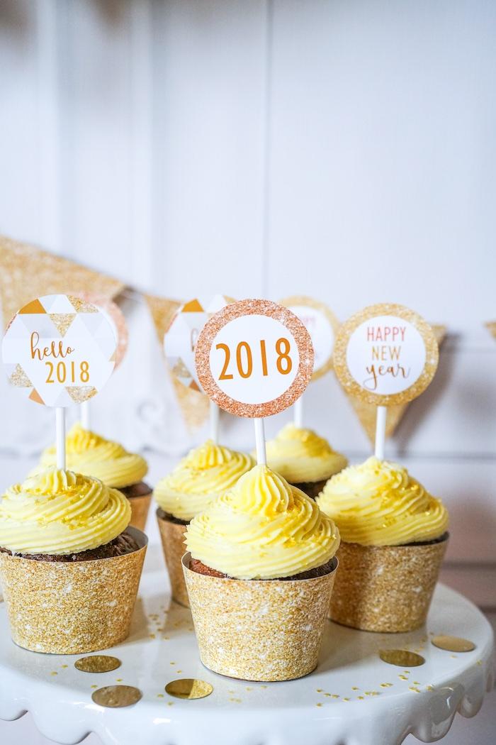 Cupcakes from an Easy DIY Sparkly New Year's Eve Party on Kara's Party Ideas | KarasPartyIdeas.com (10)
