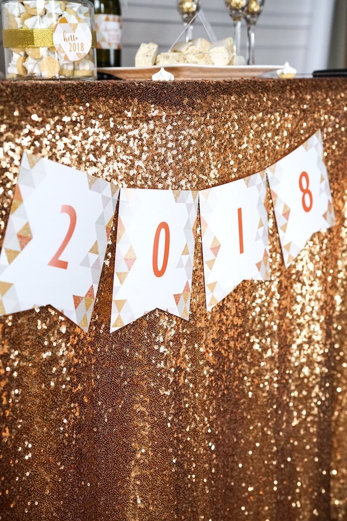 2018 banner from an Easy DIY Sparkly New Year's Eve Party on Kara's Party Ideas | KarasPartyIdeas.com (9)
