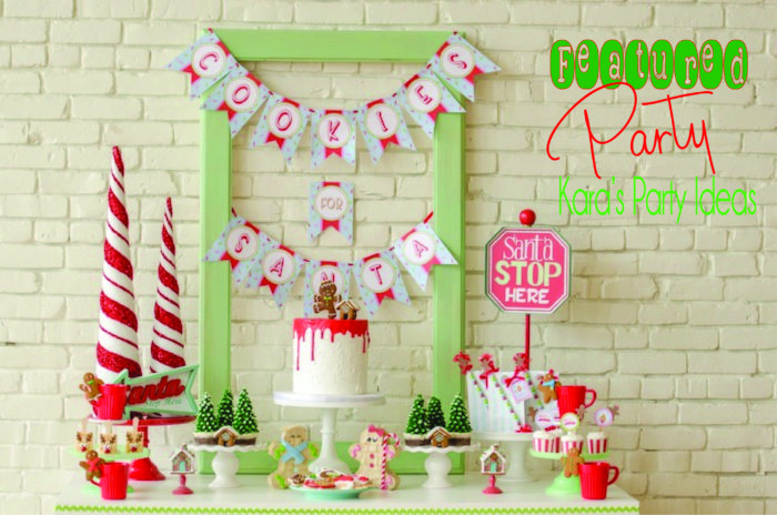 """""""Cookies for Santa"""" Christmas Party that is the featured party here at Kara's Party Ideas! Cute drip cake, Chritmas tree cupcakes, printables, and more!"""