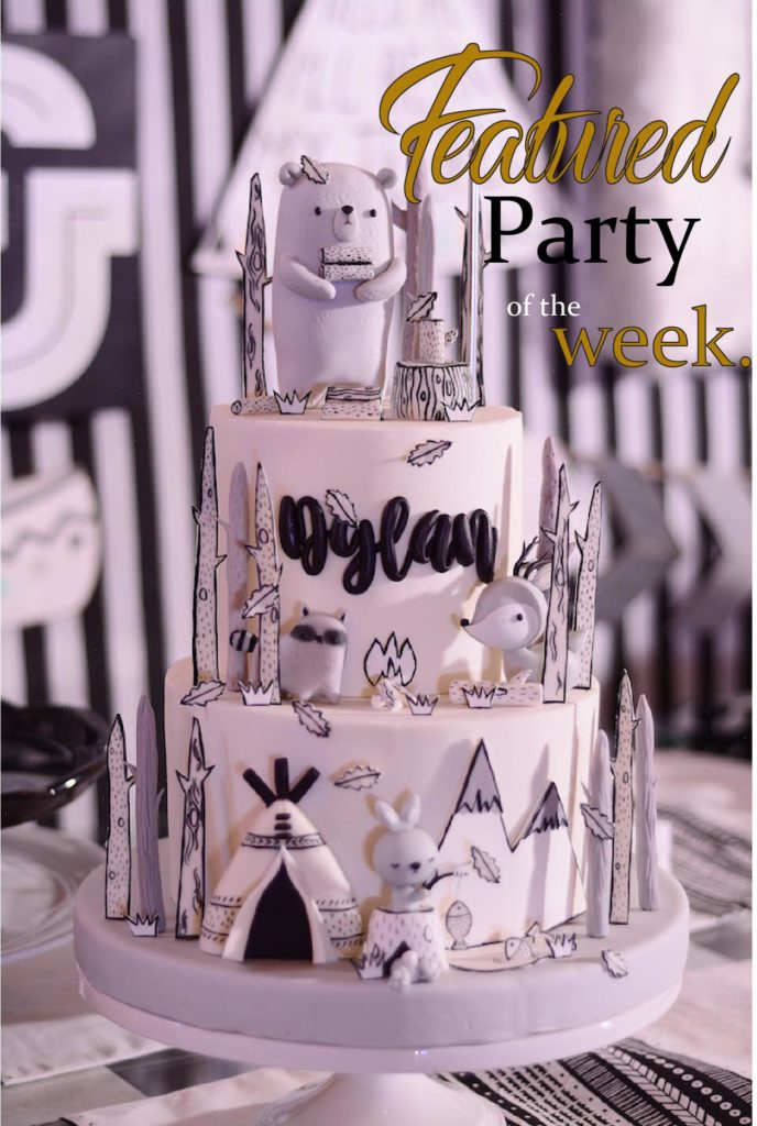 Featured Party of the Week Monochromatic Scandanavian Camping Party via Kara's Party Ideas