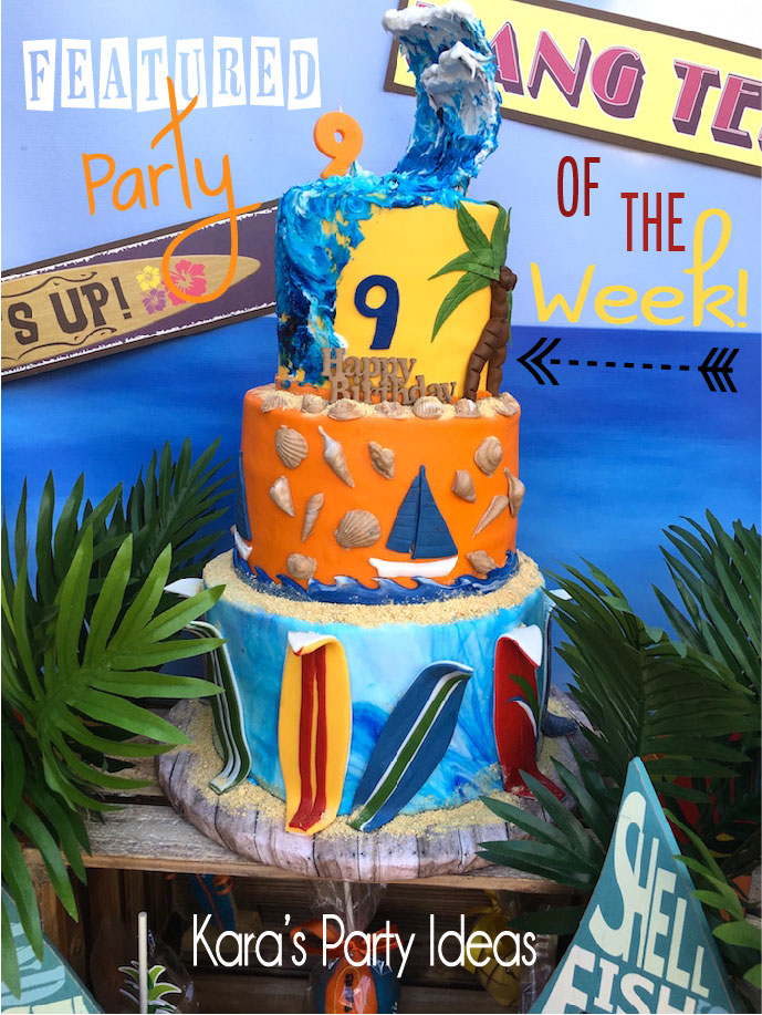 Check out this Featured Party of the Week at Kara's Party Ideas! The cutest surf's up, hang 10 party!