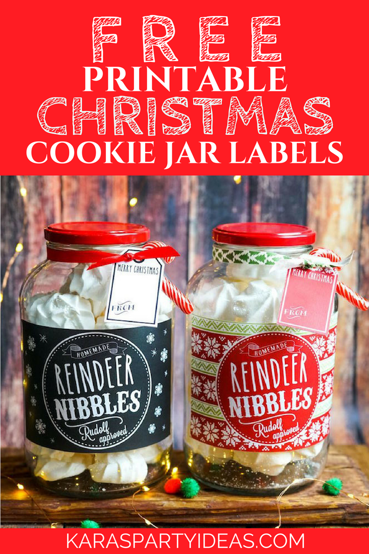 Free Printable Christmas Cookie Jar Labels via Kara's Party Ideas - KarasPartyIdeas.com